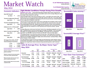 Statistics for Real Estate Market - Toronto for May 2014